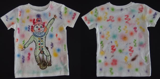šašo s konfetami , Maľovaný textil