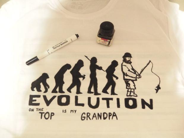 Dávidko maľoval tričko pre dedka , Maľovaný textil