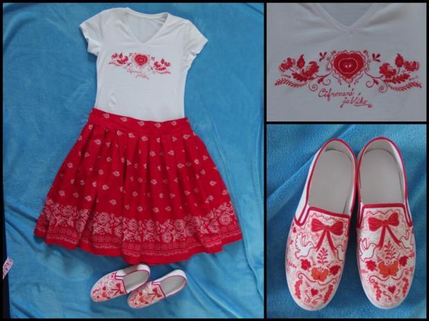 maľované tričko a topánočky, šitá sukňa, Maľovaný textil