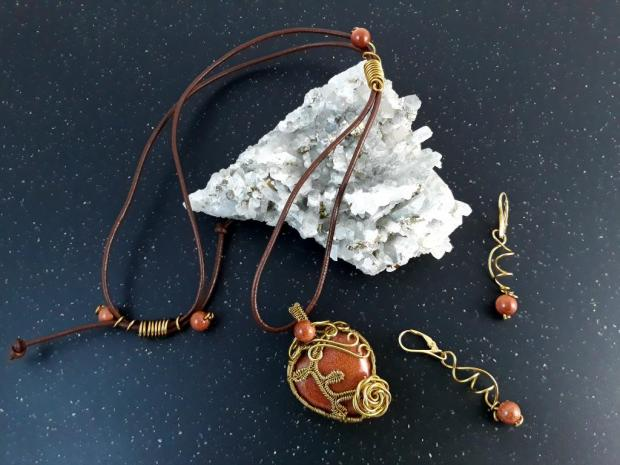 Autorská sada šperkov : Srdiečko - zlatý avanturín , Drôtovanie 2