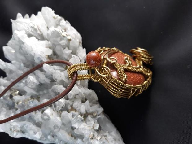 Autorská sada šperkov : Srdiečko - zlatý avanturín , Drôtovanie