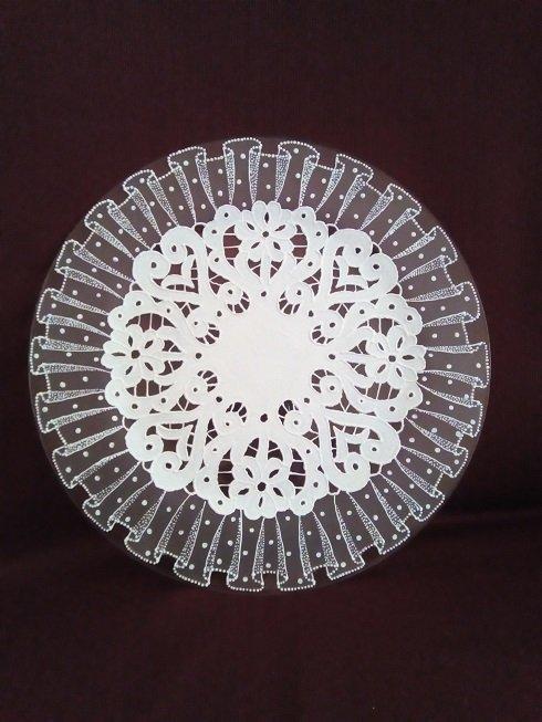 sklenen tanier, Na skle maľované
