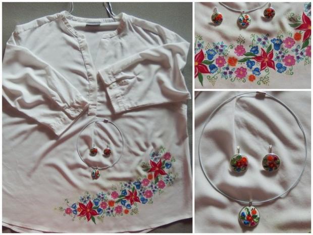 Maľovaná blúzka a fimo ušničky a náhrdelník, Maľovaný textil