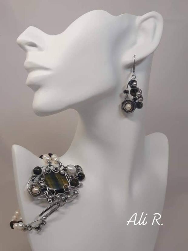 Nadčasová elegancia... riečne perly a sokolie oko, Drôtovanie 3