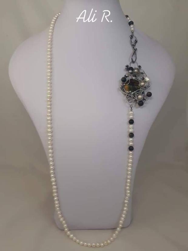 Nadčasová elegancia... riečne perly a sokolie oko, Drôtovanie 5