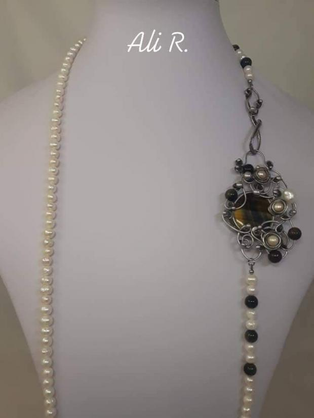 Nadčasová elegancia... riečne perly a sokolie oko, Drôtovanie 6