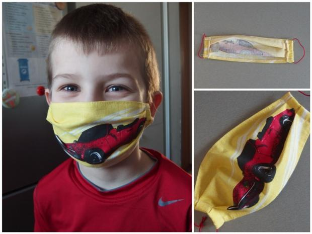 Rúško pre deti z látkovej vreckovky