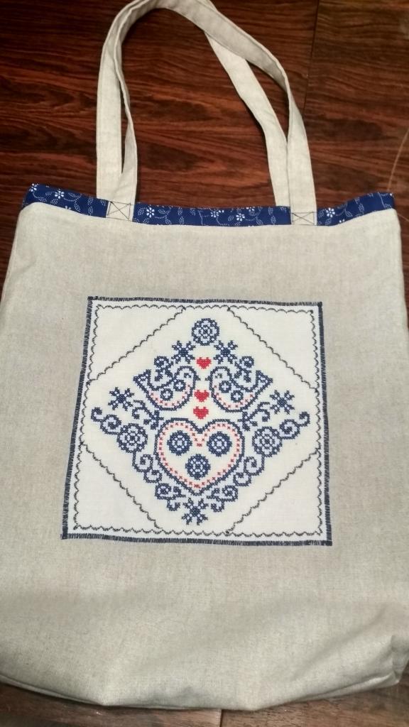 Obojstranná nákupná taška vtáčiky modré, Šitie, Vyšívanie