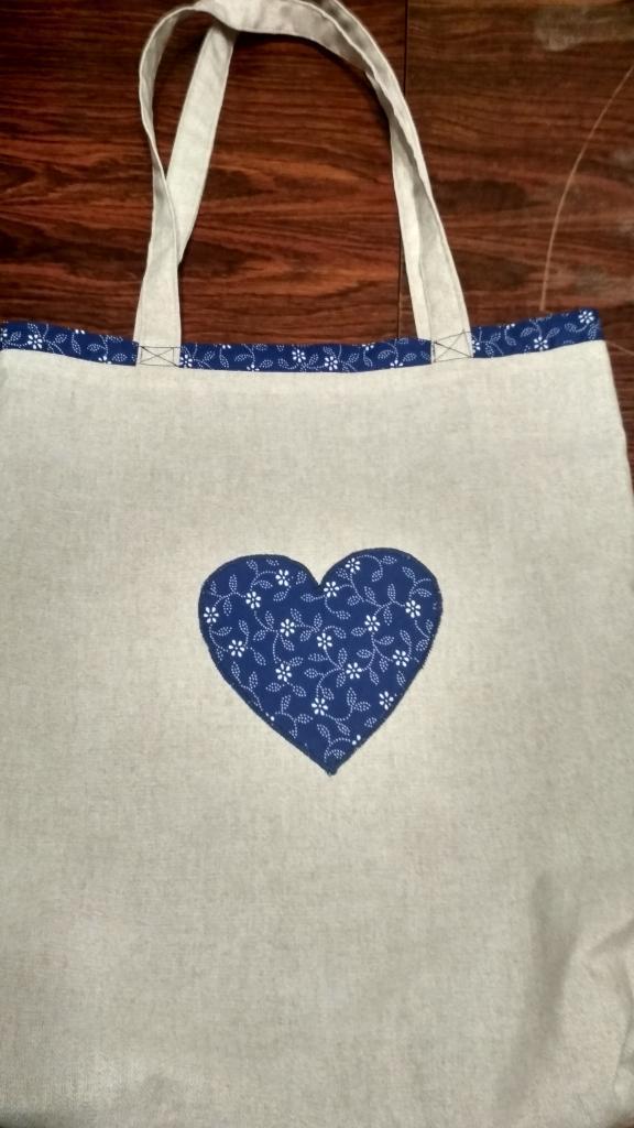 Obojstranná nákupná taška vtáčiky modré, Šitie, Vyšívanie 2
