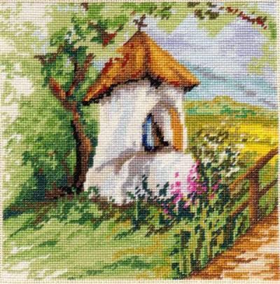 Kaplnka - vyšívaný obraz, Vyšívanie