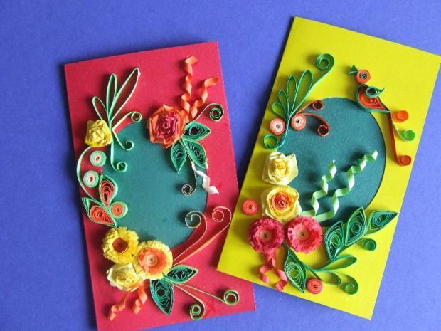 Pozdravy k meninám, Pohľadnice, Scrapbook, Quilling