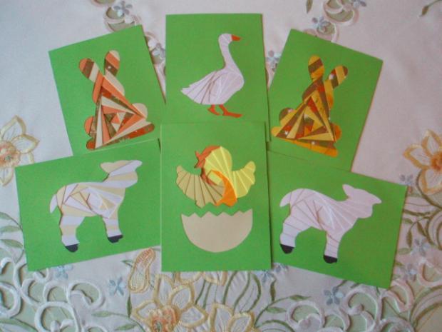 Veľká noc - zvieratká, Pohľadnice, Scrapbook, Quilling