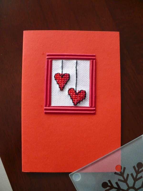 Valentínska pohľadnica vyšívaná