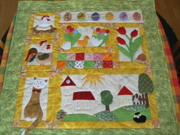 jarný nástenný quilt, Patchwork