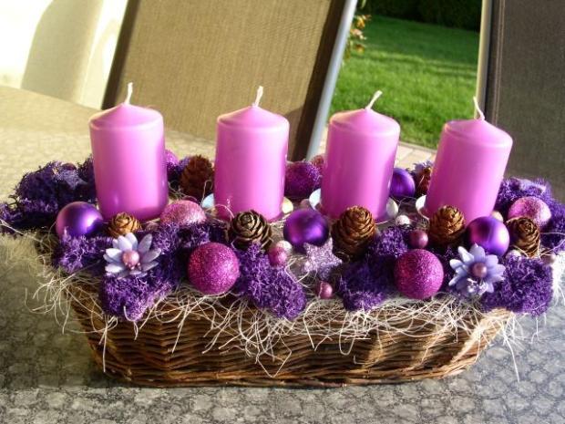 Advent v kosicku fialovy, Vianočné dekorácie