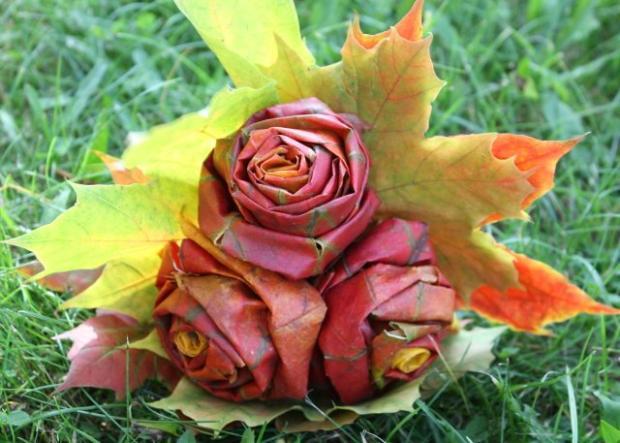 Fotopostup na ruže z javorového lístia - foto postup