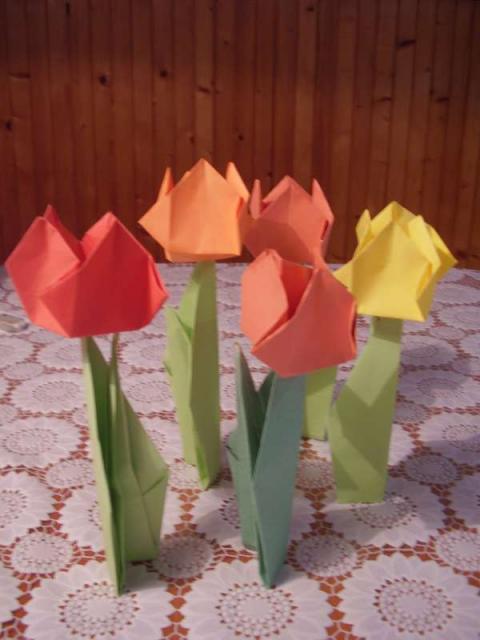 Tulipány z papiera - fotopostup - foto postup
