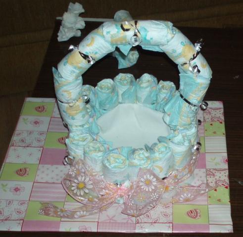 Bocian z plienok - návod na plienkovú tortu 8