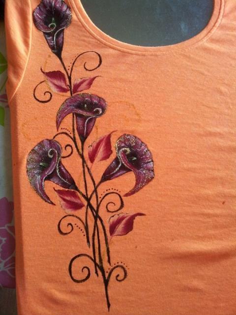 malovanie tricka -kvety - foto postup