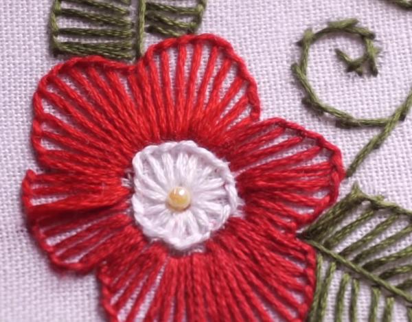 Vyšívaný kvetinový motív - foto postup