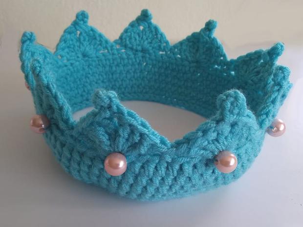 Háčkovaná čelenka, koruna pre princeznú, návod, Dasa_