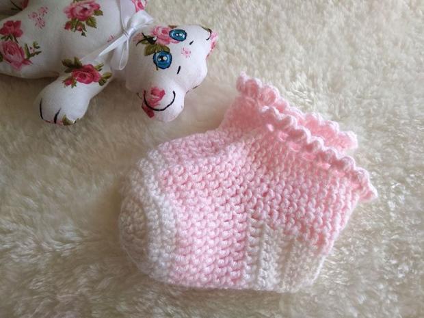 Háčkované ponožky pre bábätko  - foto postup