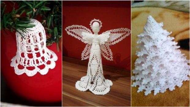 Postupy na háčkované vianočné ozdoby: zvončeky, stromčeky, anjeliky aj korčule - foto postup