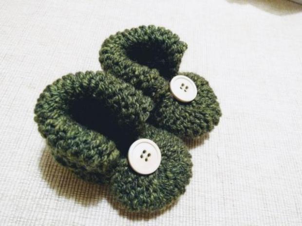 Najjednoduchšie pletené papučky pre bábätko - foto postup