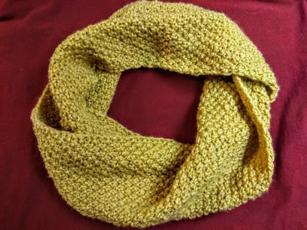 Okrúhly šál - pletený vzor hrášok - foto postup