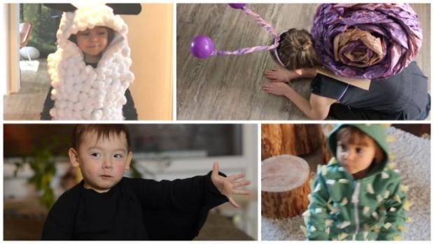 Štyri jednoduché detské kostýmy na maškarný bez šitia - ovečka, slimák, netopier, kaktus - foto postup