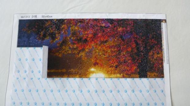 Jeseň - tzv. diamond painting technikou - foto postup