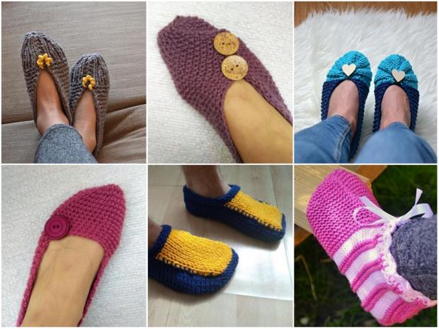 Postupy na pletené a háčkované papuče