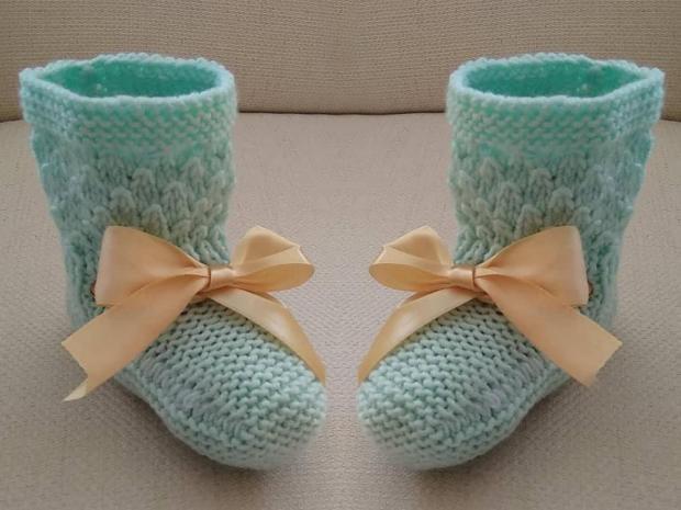 Štrikované papučky pre bábätko - foto postup