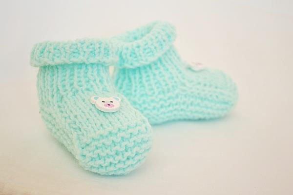 Pletené papučky pre bábo - foto postup