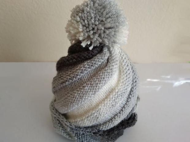 Pletená čiapka so šikmými pruhmi, návod, Dasa_