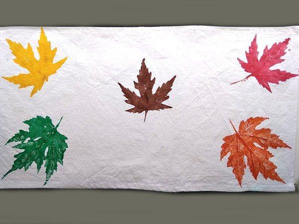 Postup na otlačky listov na textil