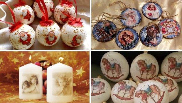 Vianočné ozdoby zdobené technikou dekupáž - servítková technika - foto postup