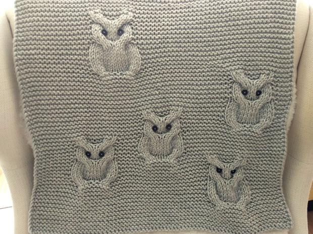 Pletená deka so sovami - foto postup