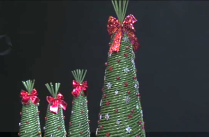 Papierové pletenie: Výroba vianočného stromčeka - foto postup