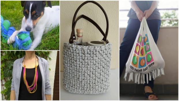 Čo so starými tričkami? Vyrobte si tašku, košík, šperky alebo hračku pre psíka - foto postup