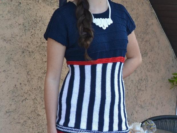 Postup na pletené námornícke tričko - návod