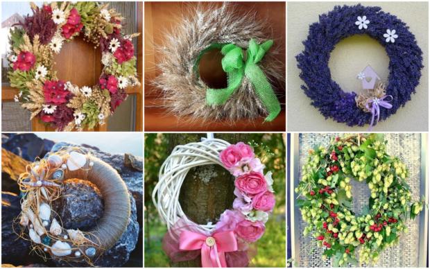 Ako vyrobiť veniec na dvere? Použite obilie, kvety, papier, plody, mušle a textil - foto postup