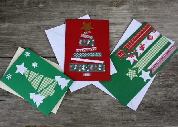 Inšpirácie na veľmi jednoduché vianočné pohľadnice - foto postup