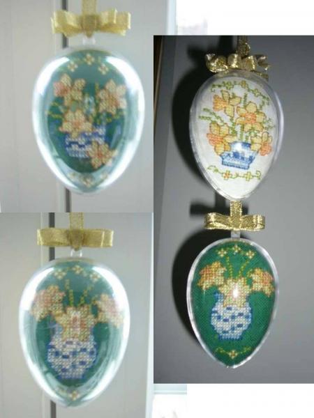 Zelené vyšívané vajíčko - foto postup